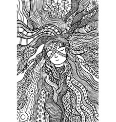Fantasy girl hair coloring page hand drawn doodle vector