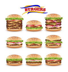 fast food realistic burger set beautiful vector image