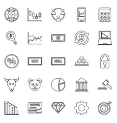 Forex line icons on white background vector