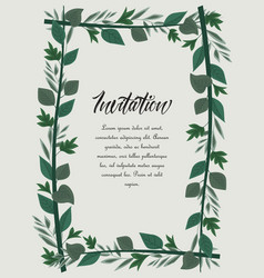 frame green leaves vector image