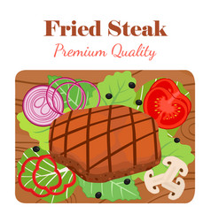 Fried steak on cutting board with vegetables vector