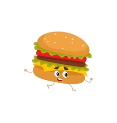 Funny burger fast food kids menu character vector image