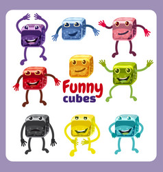 Funny cute cubes colorful candy button glossy vector
