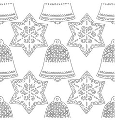 gingerbread bells black and white vector image