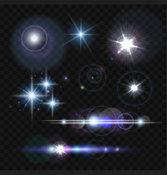 Glowing lights stars and sparkles vector