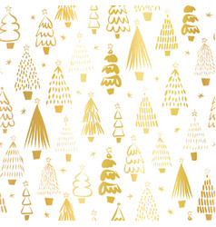 gold foil metallic christmas trees on white vector image