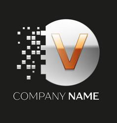 Golden letter v logo symbol in silver pixel circle vector