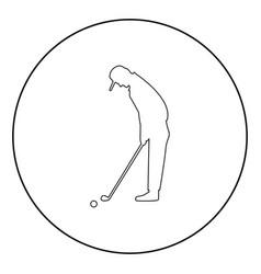 golfer icon black color in circle vector image