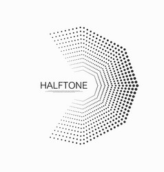 Halftone dots in hexagon form halftone dotted vector