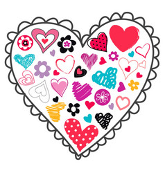 hand drawn love icon valentines day greeting card vector image