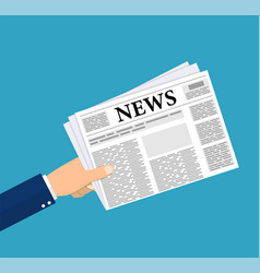 hands holding newspaper vector image