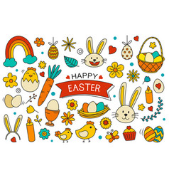 happy easter elements design easter set with vector image
