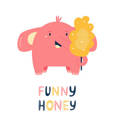 happy little elephant with cotton candy vector image