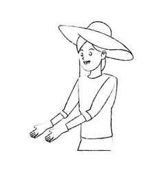 Happy pretty woman with big sun hat and gardening vector