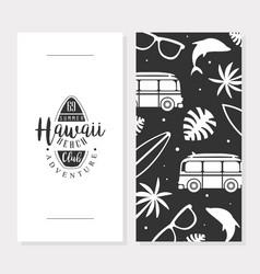 hawaii beach club card template summer adventure vector image