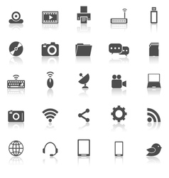 Hi tech icons with reflect on white background vector image