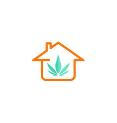 House canabis leaf logo vector