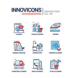 housekeeping services - line design style vector image