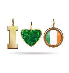 I love ireland patriotic jewelry vector