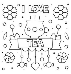 i love tea coloring page vector image