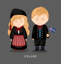 icelanders in national dress with a flag vector image
