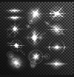Lens white beamor star flare light effect vector