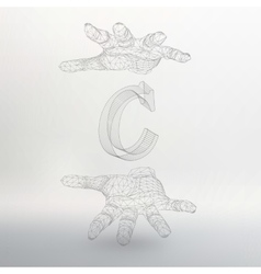Letter C and hand of lines vector