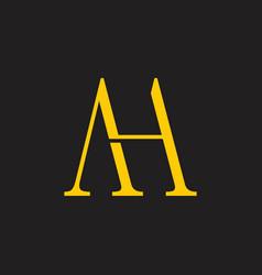 Letters ah simple elegant logo vector