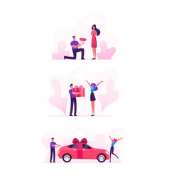 loving couple set with man giving presents to girl vector image