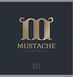m monogram curl elements barbershop logo vector image