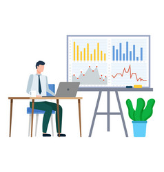 man work on laptop business statistics on board vector image