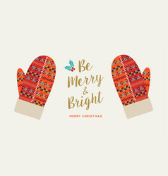 merry christmas holiday card red winter gloves vector image