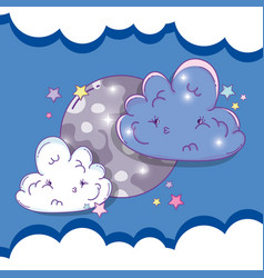Moon with sad fluffy clouds and stars vector