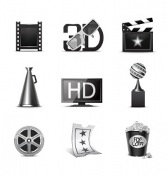 movie icons bw series vector image
