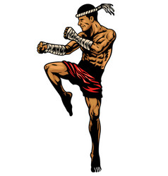Muay thai fighter in hand drawing style vector