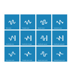 music waves icons on blue background vector image