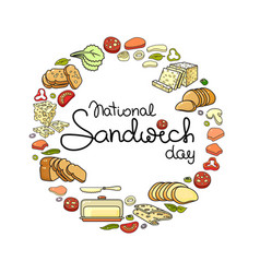 national sandwich day card set isolated on vector image
