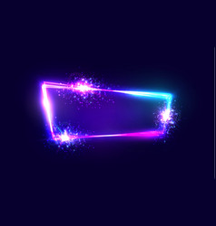 Neon techno frame with explosion and firework vector