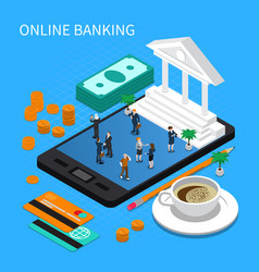 online banking isometric composition vector image