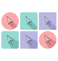 Outlined icon of pointer arrow with parallel and vector