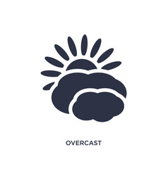 Overcast icon on white background simple element vector