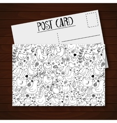 Postcard with cute cartoon birds and flowers vector image