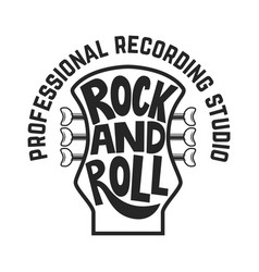 recording studio guitar head with lettering rock vector image