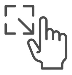 Resize gesture line icon enlarge touch screen vector