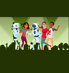 robots dancing at disco with people vector image