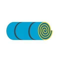 Rolled-up blue tourist mat vector