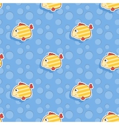seamless sea pattern with smiling yellow vector image