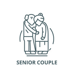 senior coupleold people line icon linear vector image