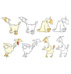 Set cartoon domestic geese cartoon vector