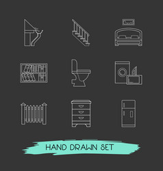 set of design icons line style symbols with fence vector image